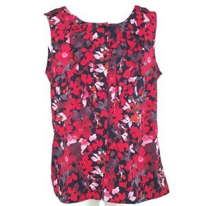 Loft Red Floral Print Sleeveless Career Top Size S
